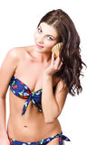 Beautiful beach babe over white background Royalty Free Stock Photos