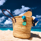 Beautiful beach with bag at Seychelles Stock Photography