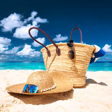 Beautiful beach with bag at Seychelles Stock Image