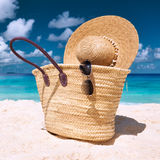 Beautiful beach with bag at Seychelles Royalty Free Stock Photography