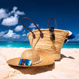 Beautiful beach with bag at Seychelles Royalty Free Stock Photos