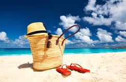 Beautiful beach with bag at Seychelles Royalty Free Stock Images