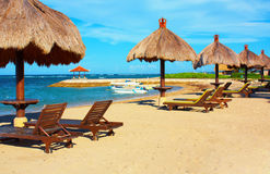 Beautiful beach in Bali. Beautiful beach near hotel in bali Royalty Free Stock Photos