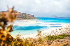 Beautiful beach in Balos Lagoon, island on Crete, Greece. Sunny day, blue sky and few clouds. View of beautiful beach in Balos Lagoon, island on Crete, Greece stock photography