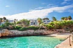 Beautiful beach bay azure sea water. Royalty Free Stock Photo