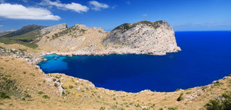 Beautiful Beach Bay Called Cala Figuera on Cape Formentor in Mal Royalty Free Stock Images