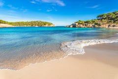 Beautiful beach bay on Majorca island, Spain Mediterranean Sea. Beach scenery of Cala S`Amarador beautiful seaside at Mondrago Natural Park on Majorca Spain Stock Photography