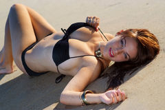Beautiful beach bikini girl royalty free stock images