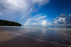 Beautiful beach with blue sky and rainbow in Kudat, Sabah Borneo, East Malaysia Royalty Free Stock Photos