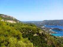 Beautiful beach and boat in Paleokastritsa, Corfu island, Greece. Holiday Stock Photo