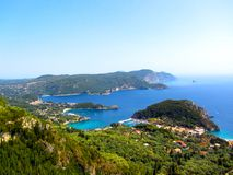 Beautiful beach and boat in Paleokastritsa, Corfu island, Greece. Holiday Royalty Free Stock Photography