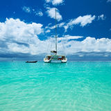Beautiful beach with boat at Seychelles Royalty Free Stock Image