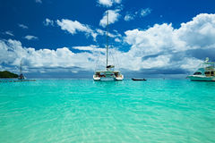 Beautiful beach with boats at Seychelles Royalty Free Stock Photo