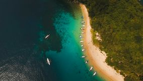 Tropical beach with boats, aerial view. Tropical island. Beautiful beach with boats and tourists. Tropical bay in El Nido. Aerial view: bay and the tropical Stock Image
