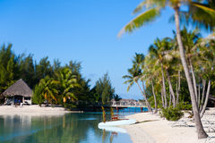 Beautiful beach on Bora Bora Royalty Free Stock Photo