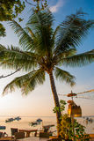 Beautiful beach with a cafe in Sanur with local traditional boats Palm trees on the island of Bali at dawn. Indonesia Royalty Free Stock Image