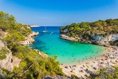 Summer beach holiday at beautiful coast on Majorca island, Spain royalty free stock images