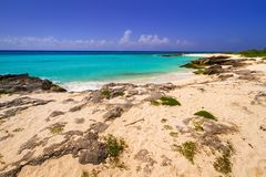 Beautiful beach at Caribbean sea. In Mexico Royalty Free Stock Images