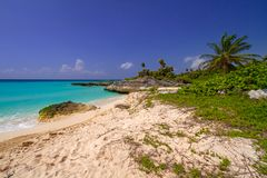 Beach at Caribbean sea in Playa del Carmen. Beautiful beach at Caribbean sea in Mexico Royalty Free Stock Photo