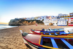 Beautiful beach in Carvoeiro, Algarve, Portugal. Beautiful beach with boats in Carvoeiro, Algarve, Portugal Royalty Free Stock Photography