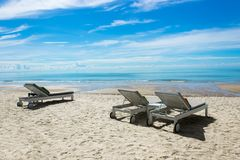 Beautiful beach with chairs for copy space stock image