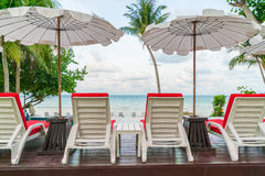 Beautiful beach chairs with umbrella around outdoor swimming poo Royalty Free Stock Photos