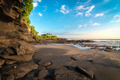 Beautiful beach with clearly blue sky at Tanah Lot temple Royalty Free Stock Photography