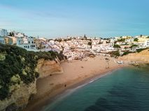Beautiful beach and cliffs in Carvoeiro, Algarve, Portugal Stock Photo