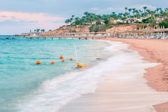 Beautiful beach coast in the Red Sea at sunset, Egypt. Royalty Free Stock Images
