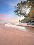 Beautiful beach with colorful sky, Thailand Stock Photo
