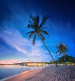 Beautiful beach with colorful sky, Thailand Royalty Free Stock Images