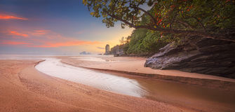 Beautiful beach with colorful sky, Thailand Royalty Free Stock Photography