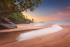 Beautiful beach with colorful sky, Thailand. Beautiful beach with river and colorful sky at sunrise or sunset, Thailand Royalty Free Stock Photo