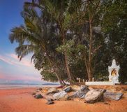 Beautiful beach with colorful sky, Thailand. Beautiful beach with river and colorful sky at sunrise or sunset, Thailand Royalty Free Stock Photography