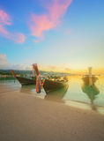 Beautiful beach with colorful sky, Thailand. Beautiful beach with river and colorful sky at sunrise or sunset, Thailand Stock Photography
