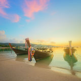Beautiful beach with colorful sky, Thailand. Beautiful beach with river and colorful sky at sunrise or sunset, Thailand Stock Images