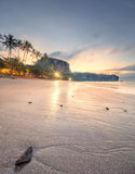 Beautiful beach with colorful sky, Thailand. Beautiful beach with colorful sky at sunrise or sunset, Thailand Royalty Free Stock Image