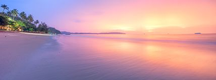 Beautiful beach with colorful sky, Thailand. Beautiful beach with colorful sky at sunrise or sunset, Thailand Stock Photography