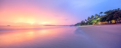 Beautiful beach with colorful sky, Thailand Stock Photos