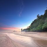 Beautiful beach with colorful sky, Thailand Royalty Free Stock Image