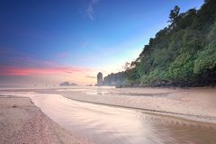 Beautiful beach with colorful sky, Thailand Stock Image