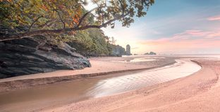 Beautiful beach with colorful sky, Thailand. Beautiful beach with colorful sky at sunrise or sunset, Thailand Stock Photo