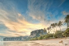 Beautiful beach with colorful sky, Thailand Royalty Free Stock Photos