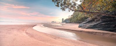 Beautiful beach with colorful sky, Thailand. Beautiful beach with colorful sky at sunrise or sunset, Thailand Royalty Free Stock Photos