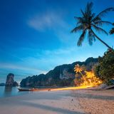Beautiful beach with colorful sky, Thailand. Beautiful beach with colorful sky at sunrise or sunset, Thailand Stock Images