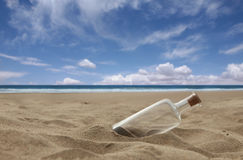 Beautiful Beach With Corked Bottle Royalty Free Stock Images