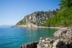 Beautiful beach on Croatian seashore, Makarska Royalty Free Stock Images