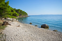 Beautiful beach on Croatian seashore, Makarska Royalty Free Stock Photo