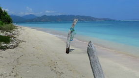 Beautiful beach with driftwood on Gili Air island. Driftwood on beautiful, turquoise Gili Air beach stock video footage