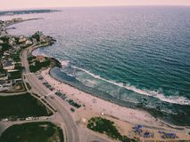 Beautiful beach drone shot  with crazy blue water. royalty free stock photo